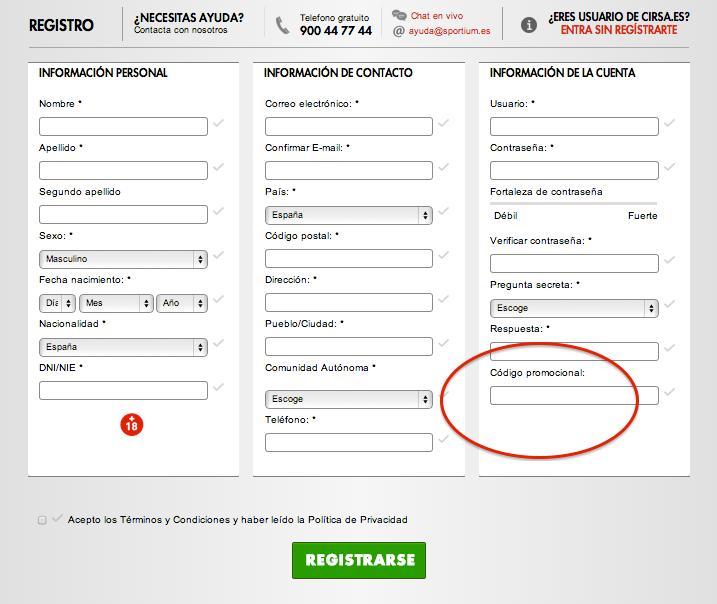Formulario de alta de Sportium con código promocional