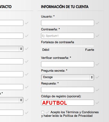 formulario de alta con el código promocional sportium