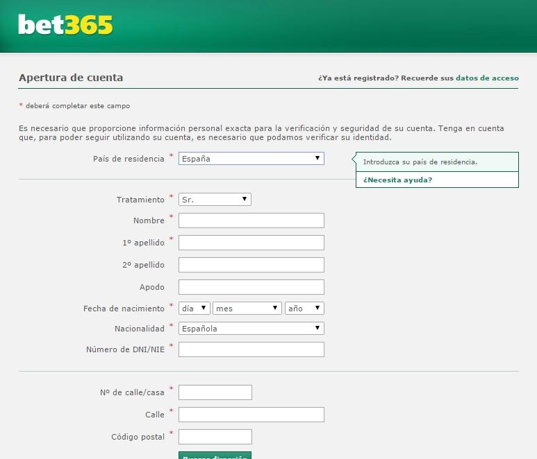 formulario de alta en bet365