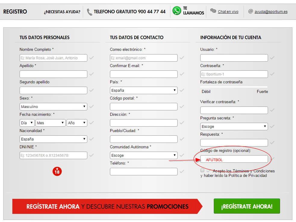 formulario alta sportium