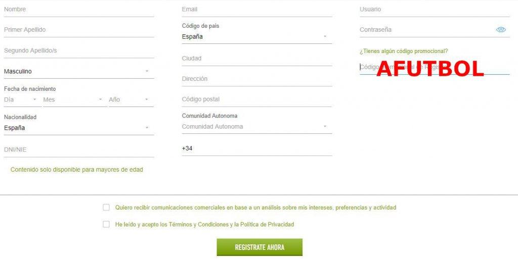 formulario codigo registro sportium