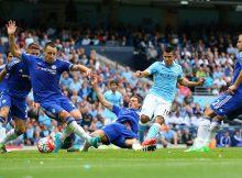 Aguero contra cuatro jugadores del Chelsea