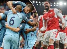 Jugadores de Arsenal y City celebrando goles con su equipo