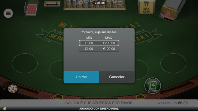 seleccion de mesa blackjack en bet365 app movil