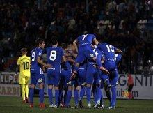 La Ponferradina celebra un gol contra el Villareal