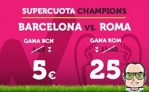 una supercuota de wanabet para el partido barcelona roma de la liga de campeones