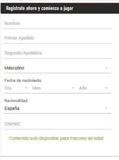 registro sportium datos personales