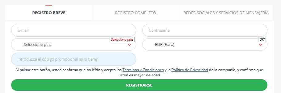 registro codigo 22bet