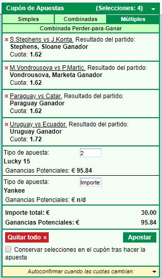 ejemplo de lucky 15 en marathonbet