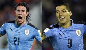 Cavani y Suárez, el gol de Uruguay