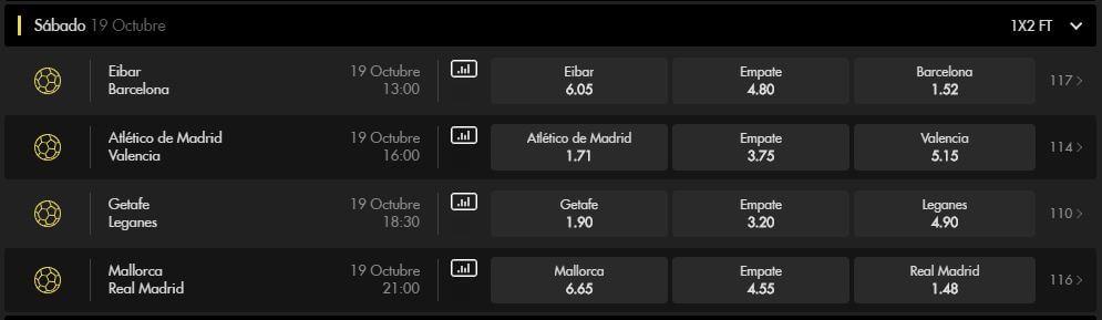 Cuotas de partidos de fútbol en el website de bethard