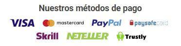 metodos de pago disponibles en luckia